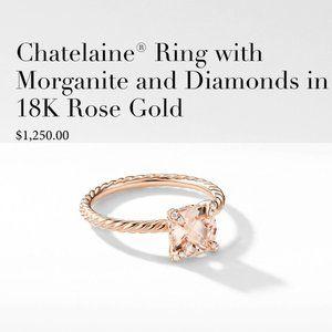 David Yurman Morganite & Diamond 18KRoseGold Ring